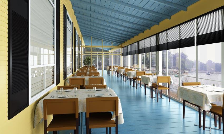 صحنه آماده سه بعدی طراحی رستوران و کافه