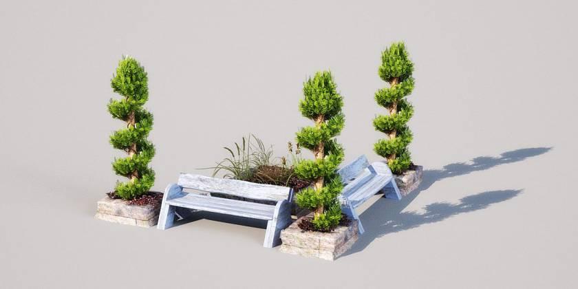 مدل سه بعدی لوازم باغ