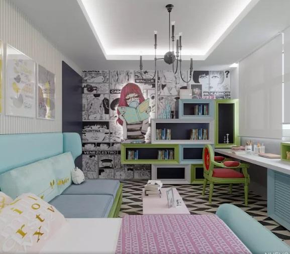 ترکیب رنگی آبی در طراحی داخلی