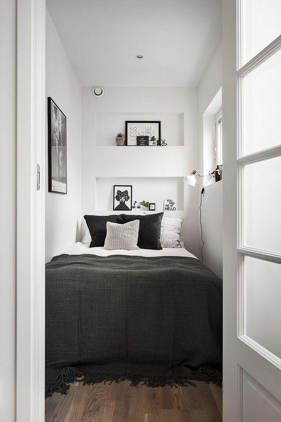 دکوراسیون اتاق خواب کوچک و باریک