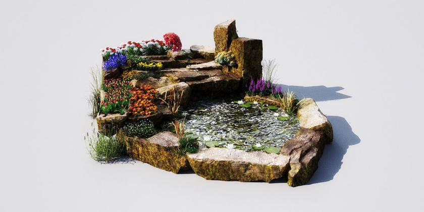 مدل سه بعدی تزیینات باغ