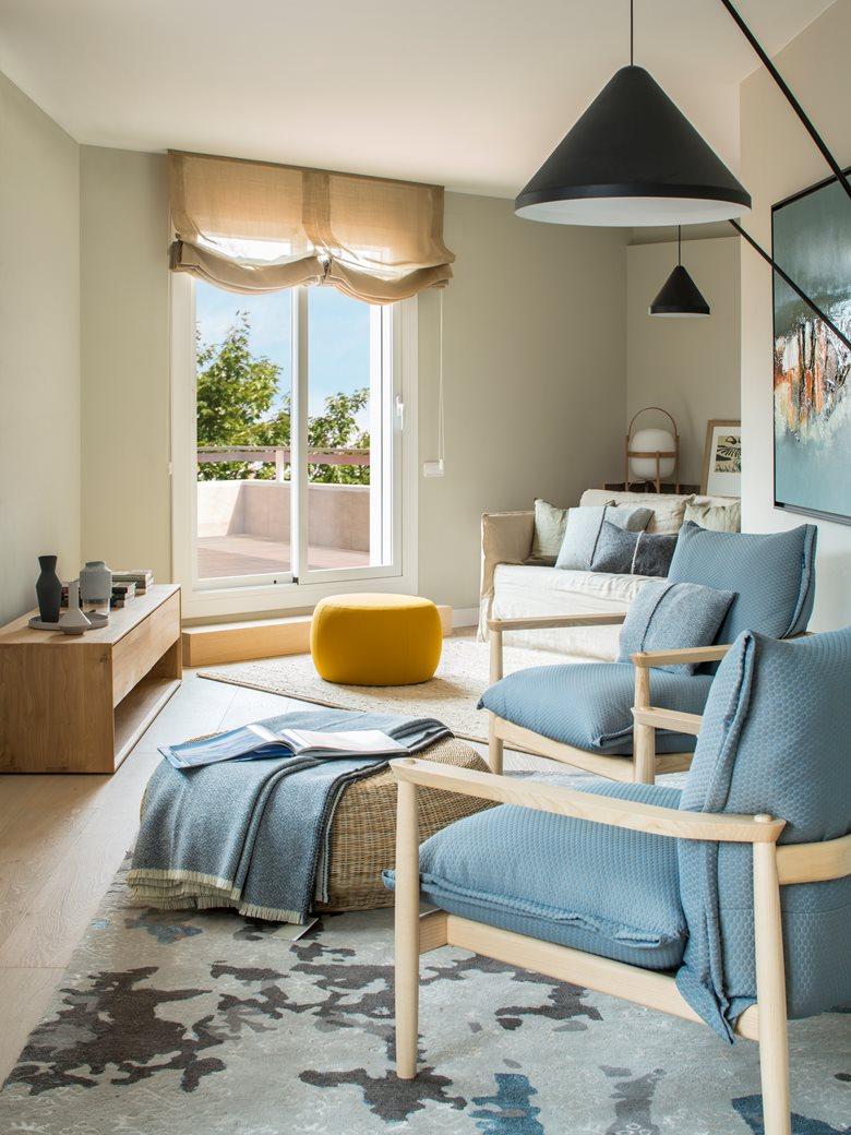 دکوراسیون داخلی آپارتمان با تم آبی آسمانی