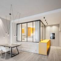 طراحی داخلی آپارتمان با تم زرد
