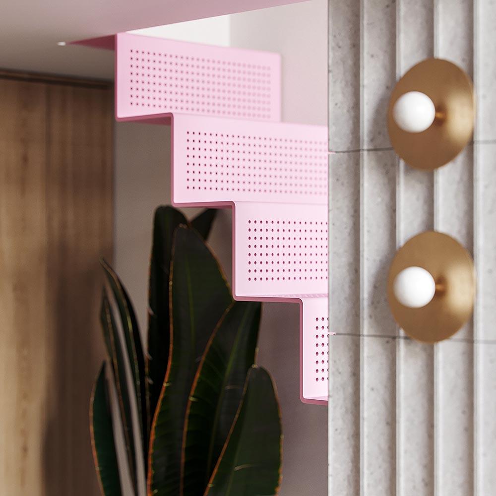 طراحی داخلی آپارتمان کوچک با تم صورتی و خاکستری