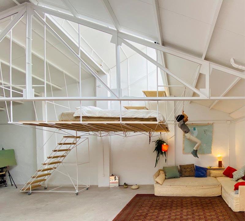 طراحی آپارتمان با تختخواب معلق