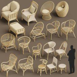 مدل سه بعدی صندلی حصیری – مجموعه صندلی و مبل