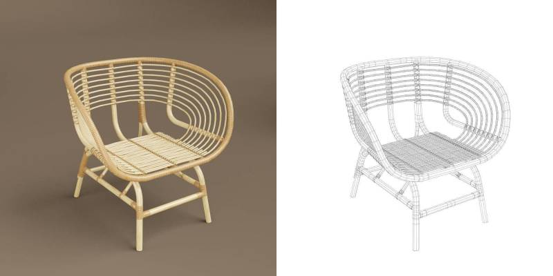 مدل سه بعدی صندلی حصیری