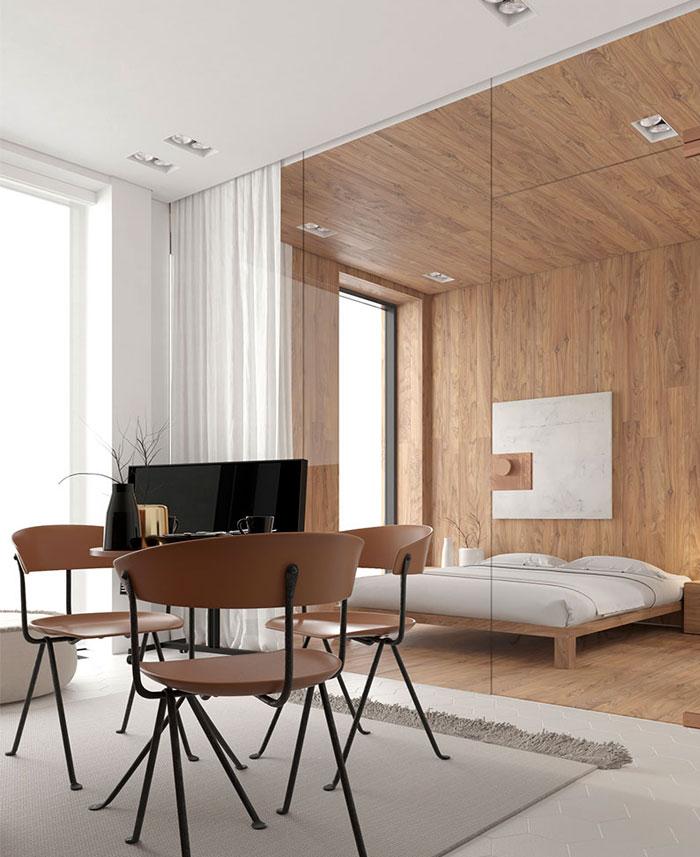 طراحی داخلی استودیو آپارتمان مینیمال