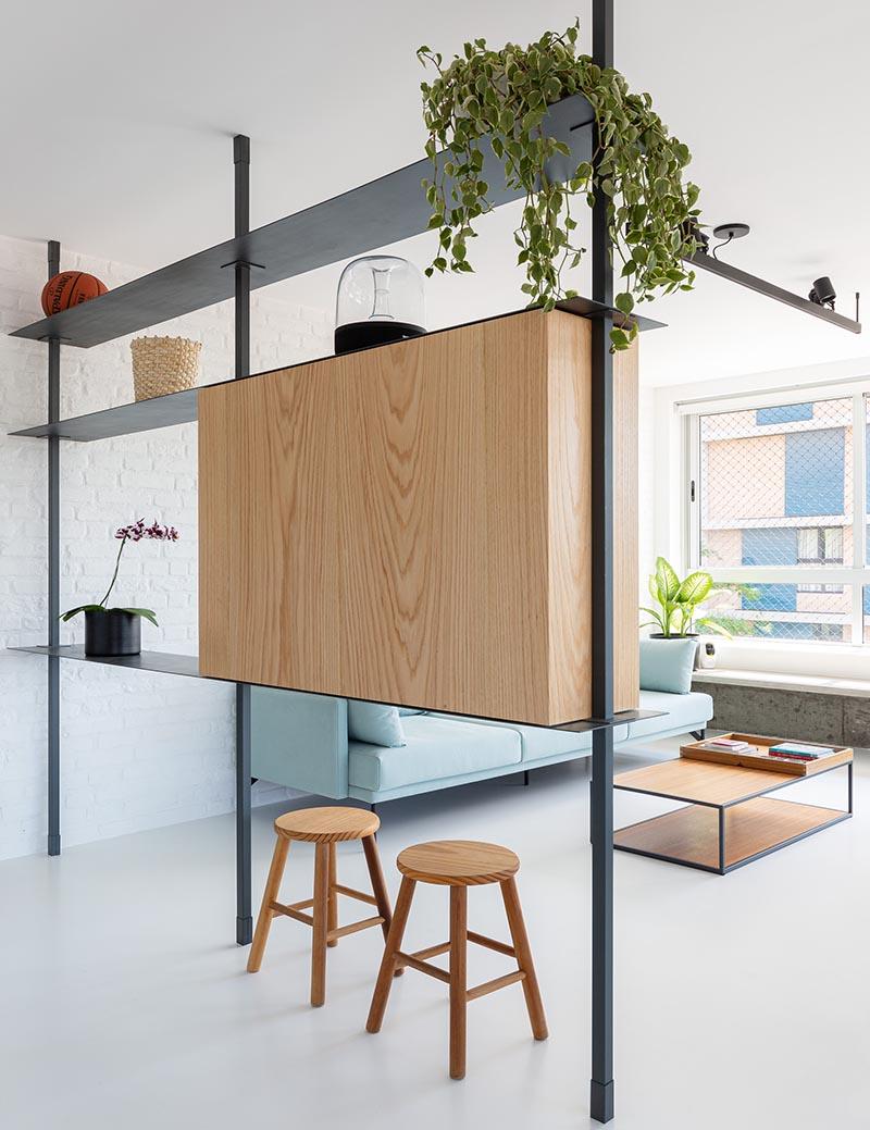 طراحی داخلی آپارتمان با پارتیشن چند منظوره