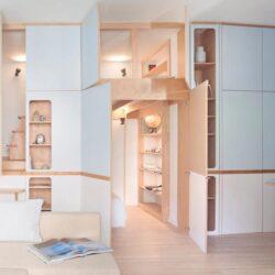 طراحی داخلی استودیو آپارتمان با دیوار سفارشی