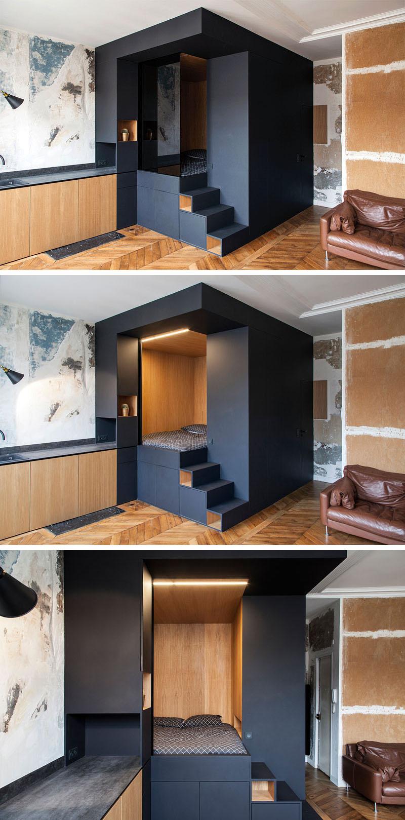 طراحی داخلی آپارتمان کوچک با باکس اتاق خواب سفارشی