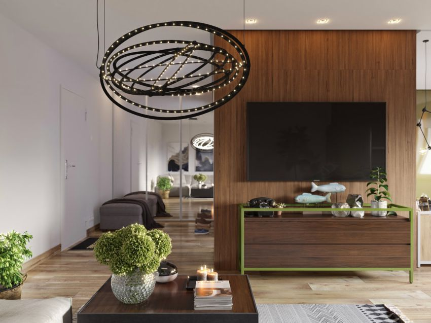 طراحی داخلی استودیو آپارتمان با تم سبز