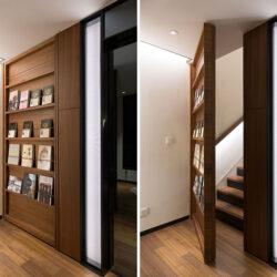 طراحی درب مخفی به عنوان قفسه کتاب
