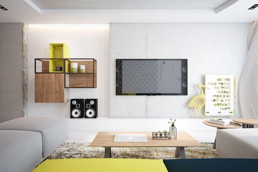 طراحی داخلی آپارتمان با رنگ های جسورانه