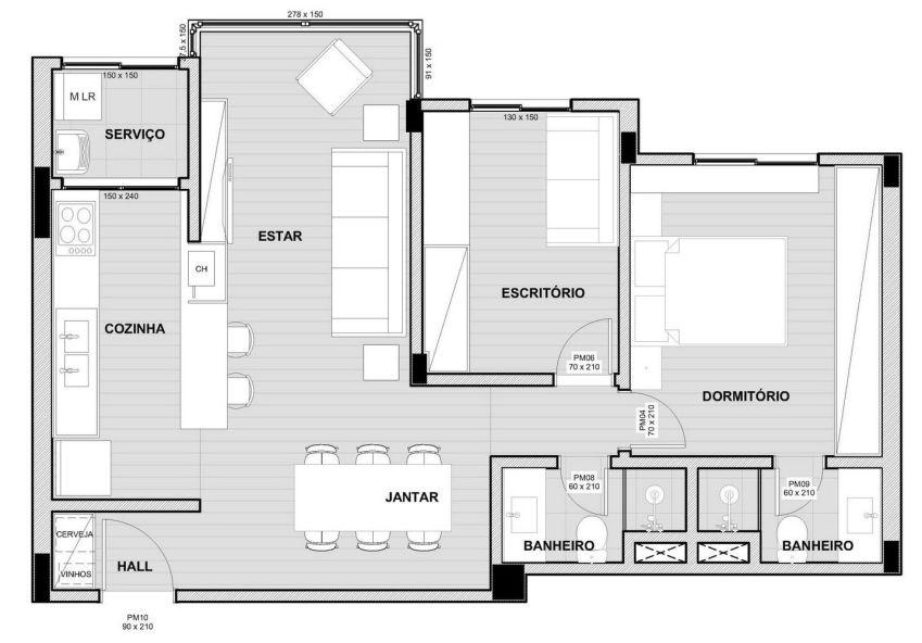 پلان آپارتمان 64 متری
