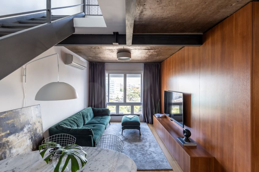 طراحی آپارتمان 80 متری با ایجاد تعادل با عناصر متضاد