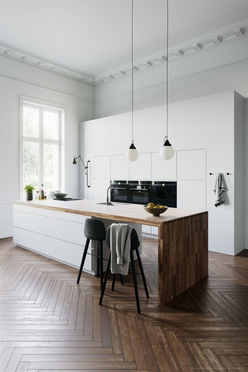 دانلود صحنه آماده آشپزخانه سفید