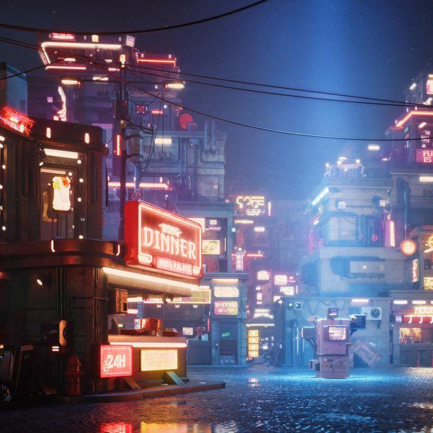مدل سه بعدی اجزای شهری سایبرپانک