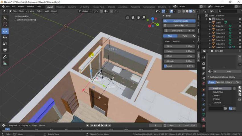 آموزش طراحی داخلی در بلندر