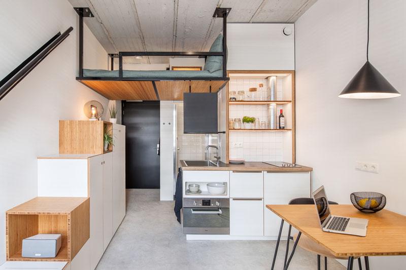 طراحی آپارتمان دانشجویی با تختخواب معلق