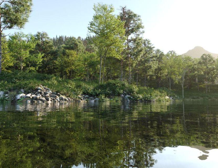 مدل سه بعدی دریاچه و جنگل