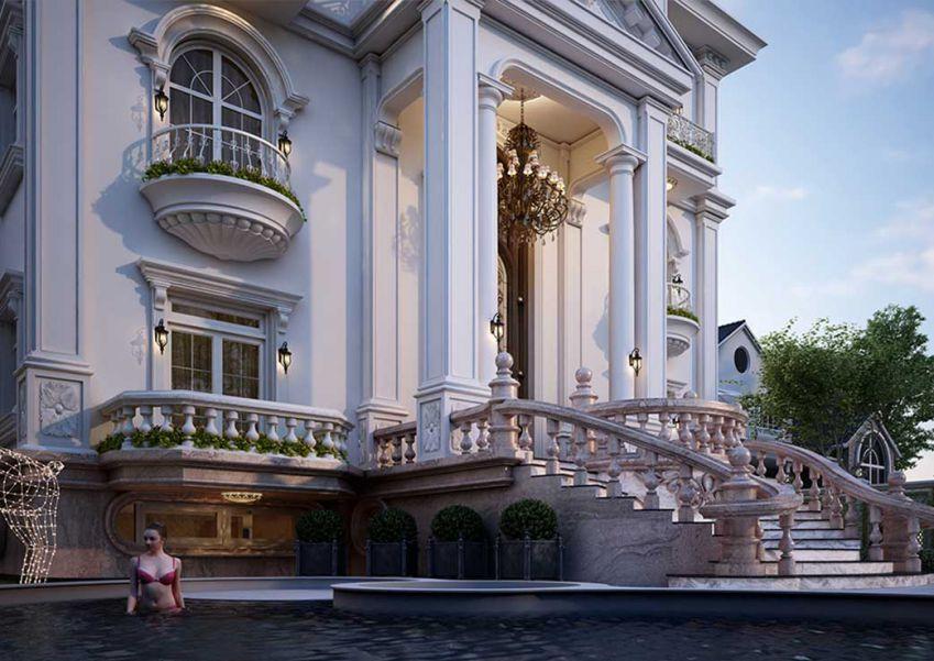 مدل سه بعدی نمای خارجی ساختمان و محوطه
