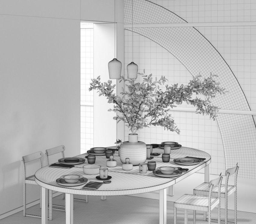 دانلود مدل سه بعدی اتاق غذاخوری