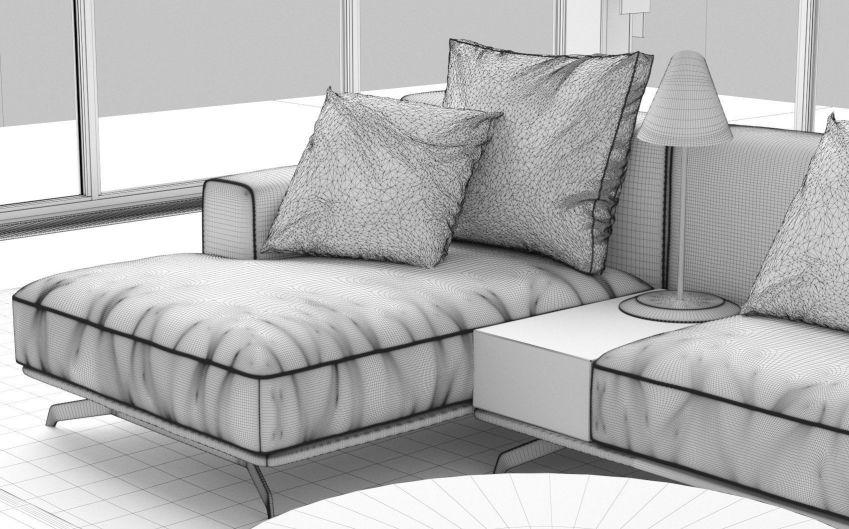 مدل سه بعدی صحنه داخلی نشیمن