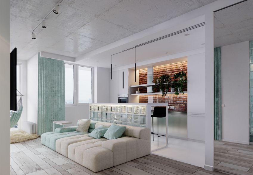 طراحی استودیو آپارتمان با تم فیروزه ایی