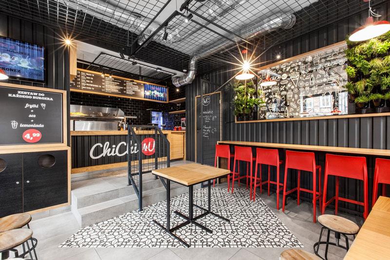 طراحی رستوران با دیوار های فولادی