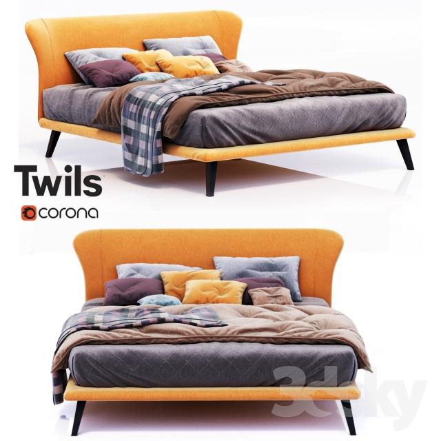 مدل سه بعدی تخت خواب مدرن