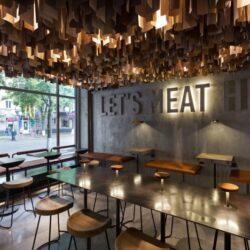 طراحی رستوران با بتن و چوب