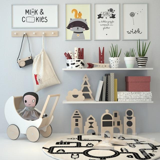 مدل سه بعدی لوازم اتاق خواب کودک