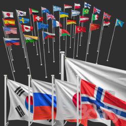 دانلود آبجکت پرچم از Pro 3DSky