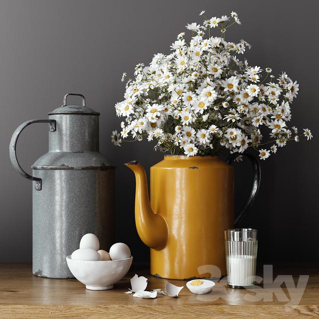 مدل سه بعدی گل و گلدان