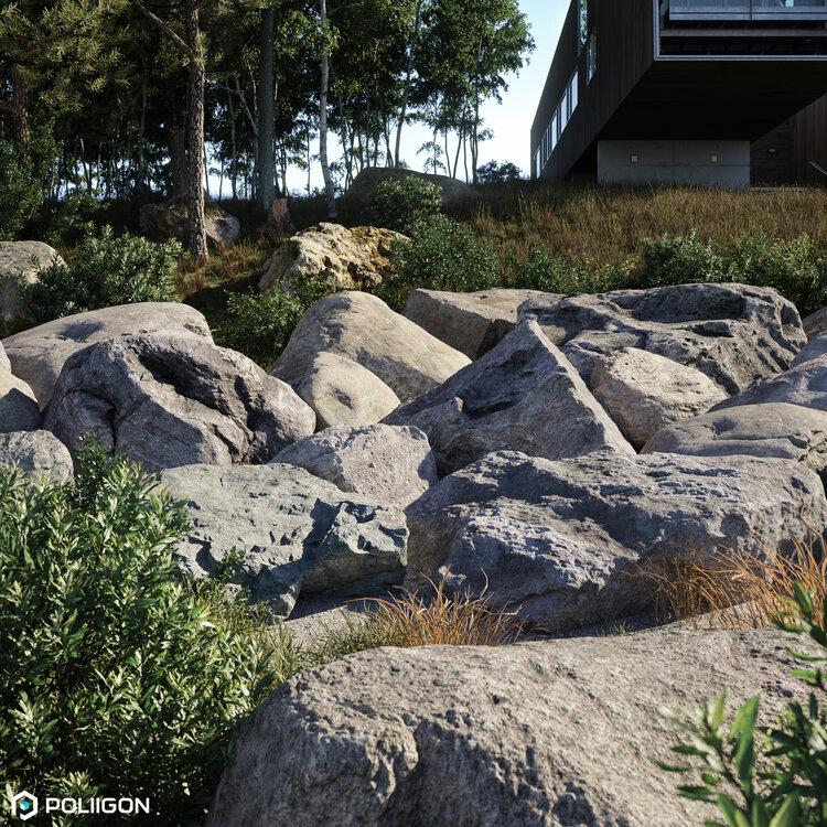 دانلود 60 آبجکت سنگ از Poliigon