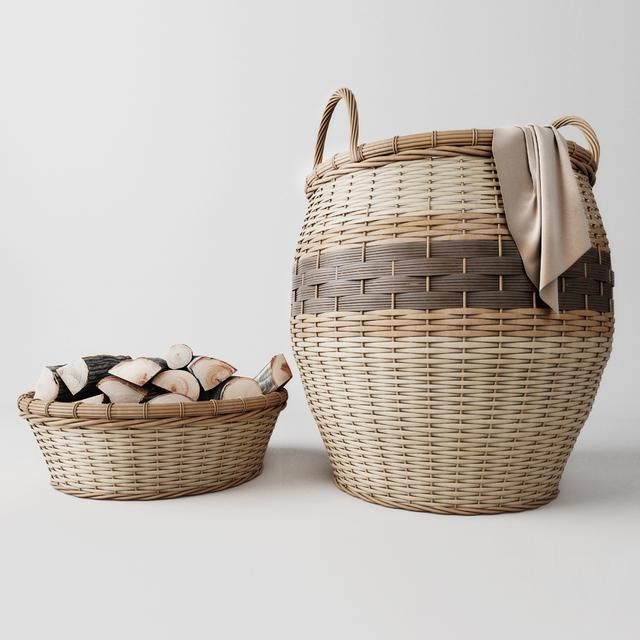مدل سه بعدی سبد چوبی