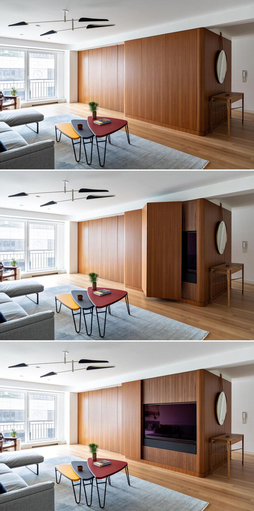 طراحی داخلی آپارتمان با مکعب چوبی