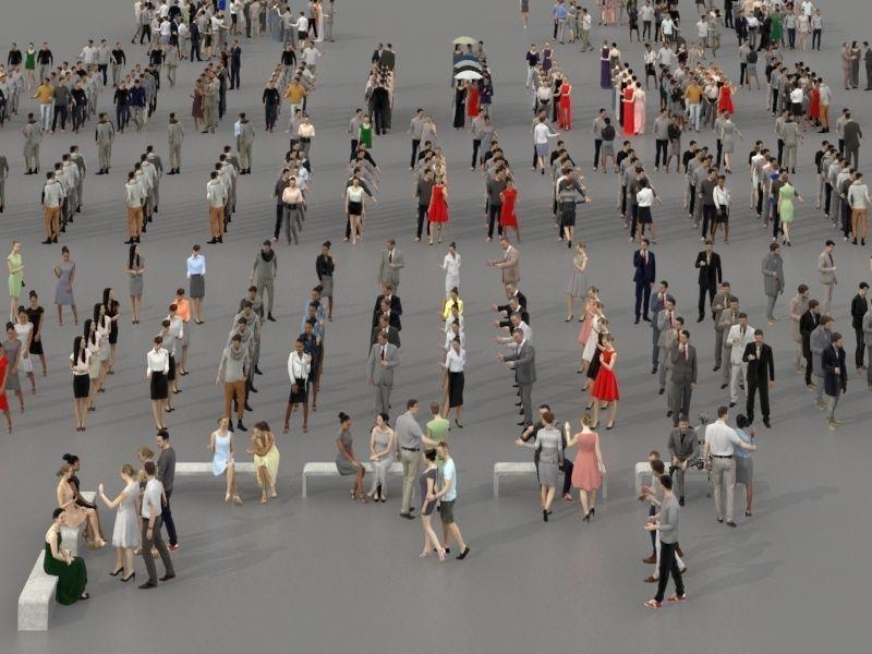 مدل سه بعدی جمعیت مردم