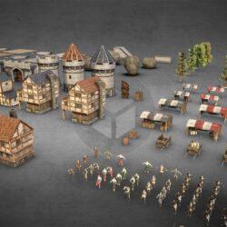 دانلود آبجکت شهر قرون وسطایی از ArtStation