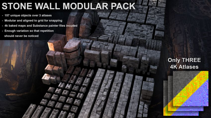مدل سه بعدی دیوار سنگی