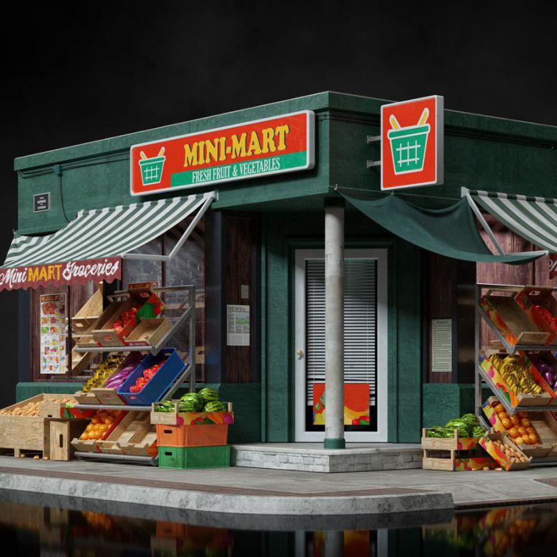 دانلود مدل سه بعدی ویترین فروشگاه